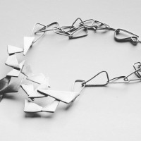 sculptural jewelry, matte silver necklace, geometric necklace, triangles, adjustable chain necklace, art jewelry, unusual necklace, naakit, lydia redovnikovic