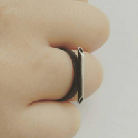 minimalist jewelry, oxidized silver band, needle, unusual ring, simple ring, sterling silver jewelry, craft, art jewelry, naakit, lydia redovnikovic