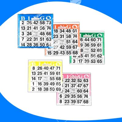 Tarjeta de bingo desechable