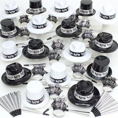 100p Sombreros de fiesta de fin de año surtidos (B/N)  WB0135