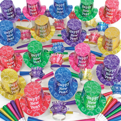 100p Sombreros de fiesta de fin de año surtidos (Neon) N0136