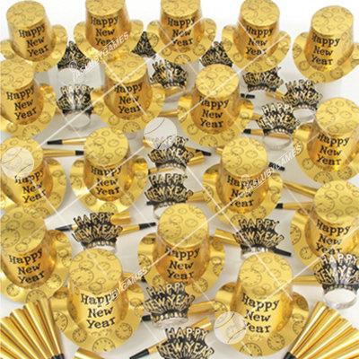 100p Sombreros de fiesta de fin de año surtidos (Dorados)  G0137