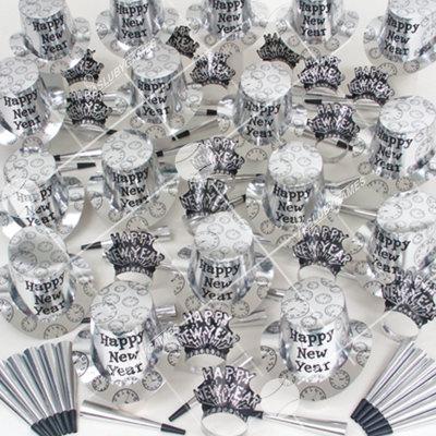100p Sombreros de fiesta de fin de año surtidos (Plateados)  P0138