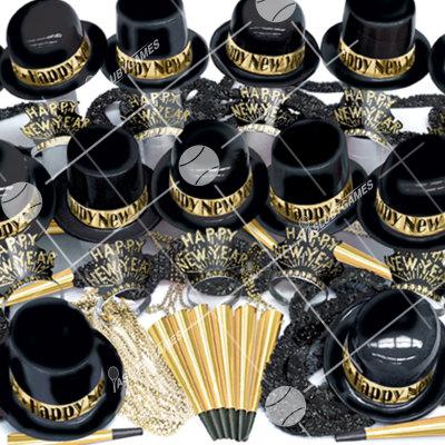 100p Sombreros de Fiesta de Fin de Año  (Negro/Dorado) BG0191