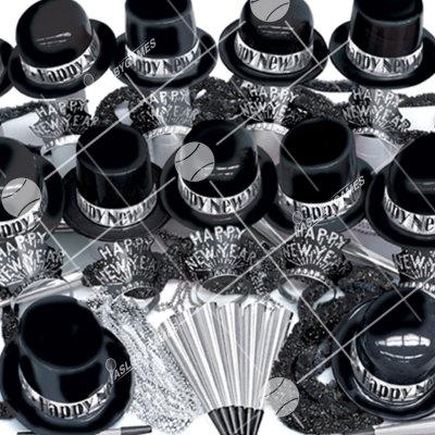 100p Sombreros de Fiesta de Fin de Año  (Negro/Plata) BP0192
