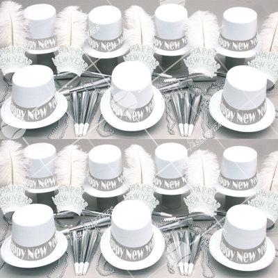 50p Sombreros de fiesta de fin de año (Blanco) MW0145