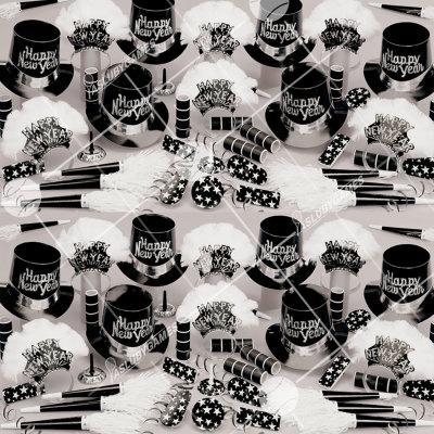 50p Sombreros de fiesta de fin de año (Noche de Negro y Plata) NP01008