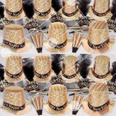50p Sombreros de fiesta de fin de año (Oro Prismatico) PG01051