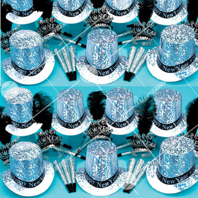 50p Sombreros de fiesta de fin de año (Plata Prismatico) SP01051