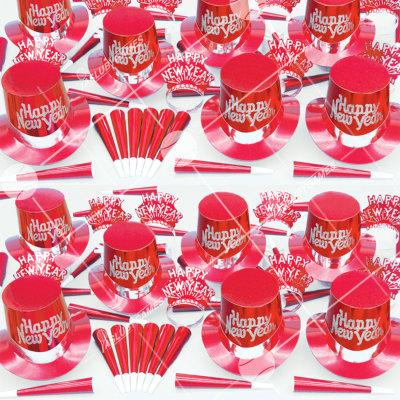 50p Sombreros de fiesta de fin de año (Rojo Solido) RS01076