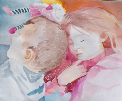 Watercolour, portrait, children