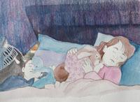 mixed media, girl sleeping