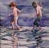 Kids Paddling by Jane Cornwell