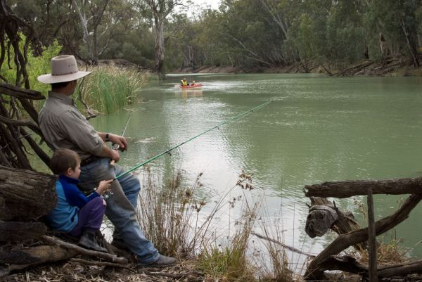 Fishing on the Murrumbidgee River at Balranald