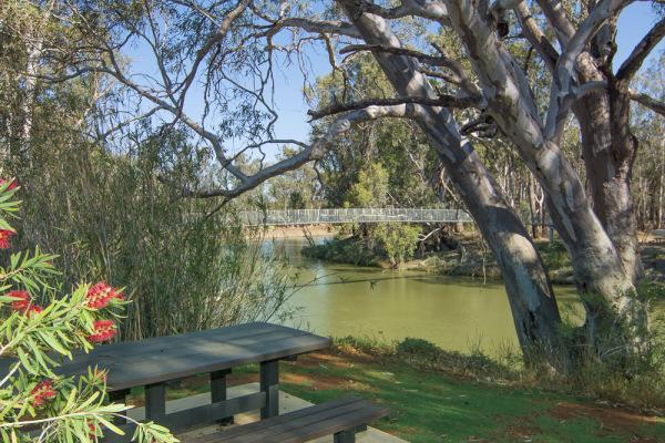 Overlooking the Murrumbidgee River and Swing Bridge at Balranald