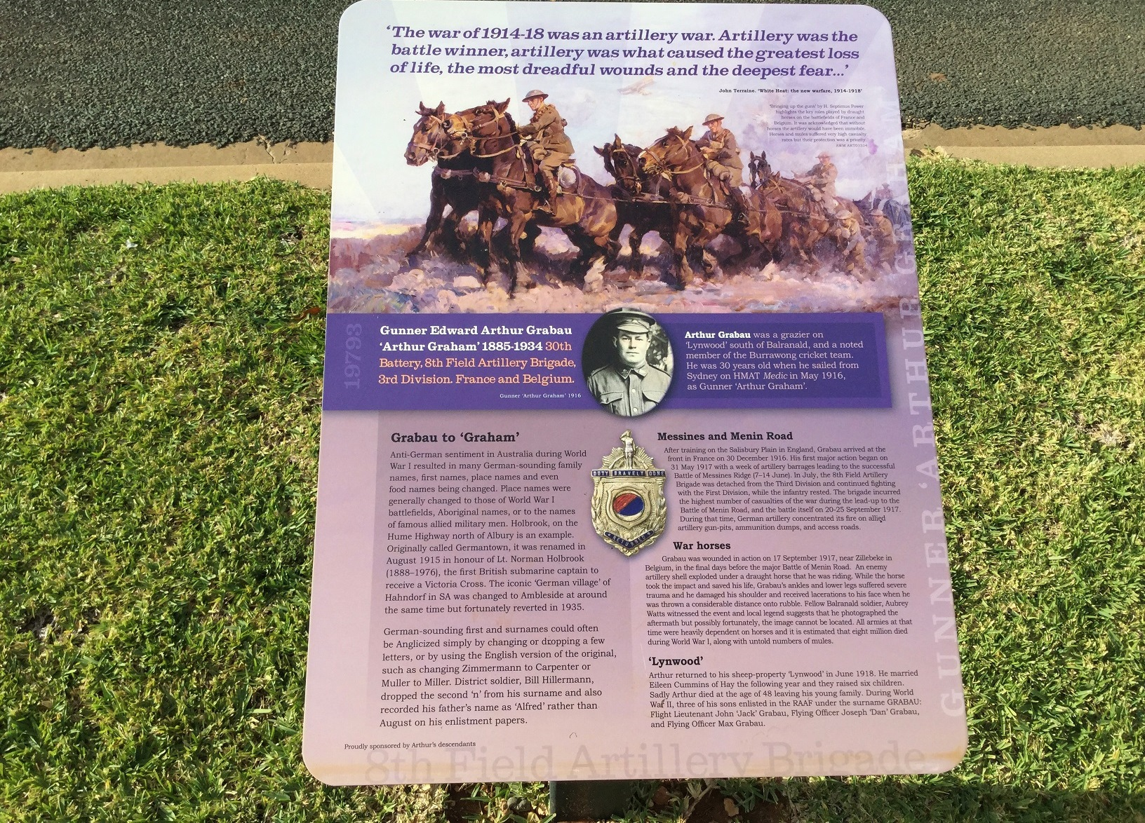One of the beautiful plaques of the Military Commemorative Trail in Balranald