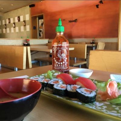 Sushi nigiri, salmon roll, and miso soup at Banzai Sushi and Grill, Austin, Texas