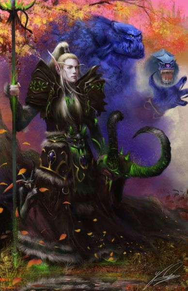 A blood elf warlock summons his fel demons. Artwork by Jay Carpenter.
