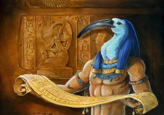 A depiction of Thoth with the Ibis head, though was often depicted as a baboon as well.
