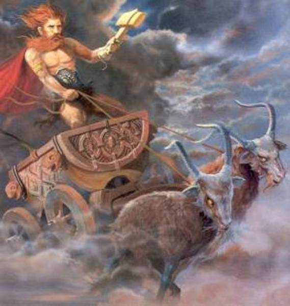 Thor, the Norse god of Thunder and Strength, rides his chariot.