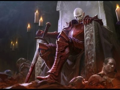 Image of Vampire Count Vlad von Carstein on his throne in the tabletop game, Warhammer.