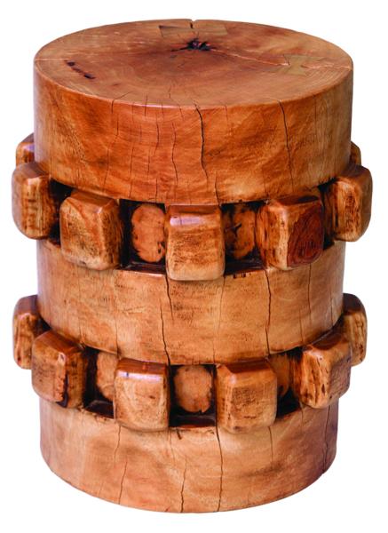 tropical wood gear stool resembling a sugar cane stool