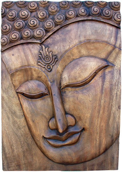 hand carved wood Buddha panel