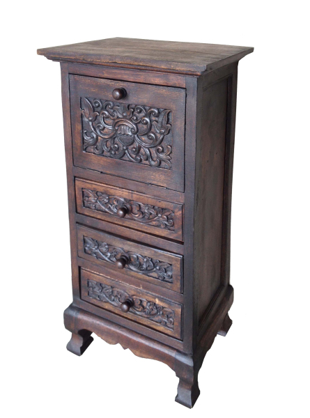 hand carved three drawer, drop down door cabinet