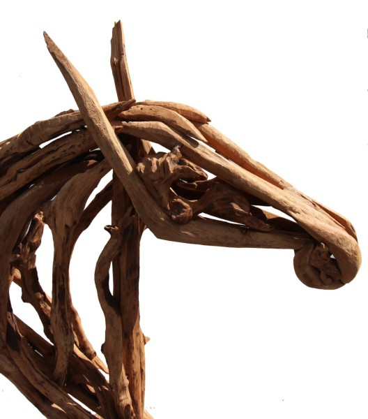 wooden horse head made with reclaimed teak wood