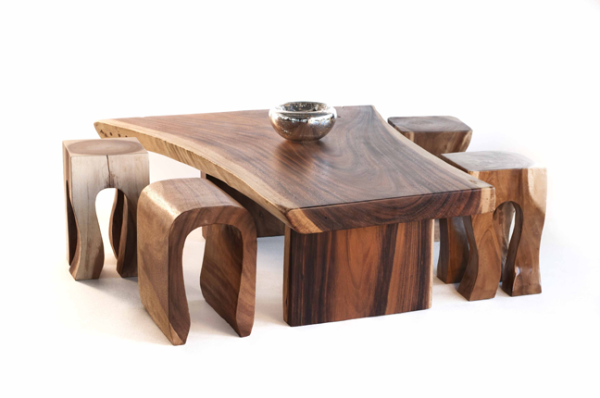 natural wood  coffee tables and end tables
