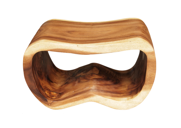 peanut shaped seat made with solid sustainable acacia wood from asian art imports