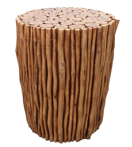 natural wood stick stool made with tropical wood
