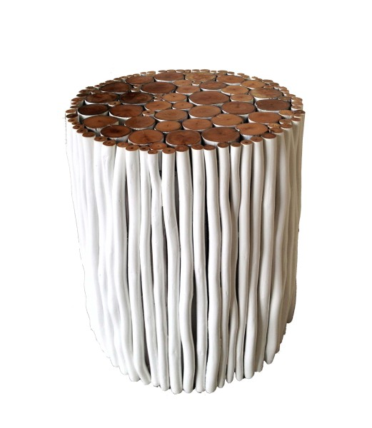 White wood stick stool made with tropical wood