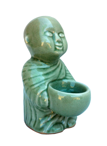 celadon monk holding an alms bowl tealight or incense holder