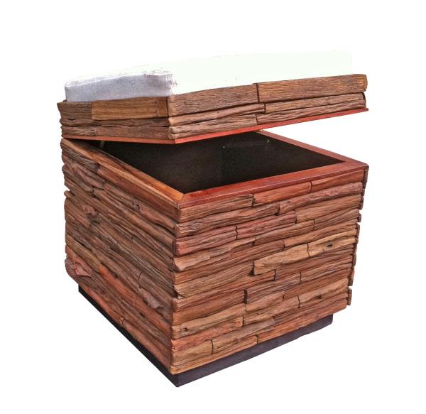 lanna reclaimed wood stool with cushion