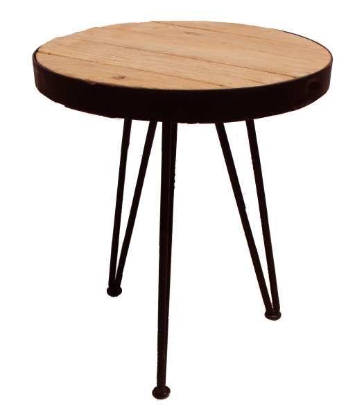 natural wood and metal stool or table