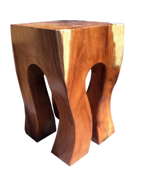 rock out stool natural acacia wood