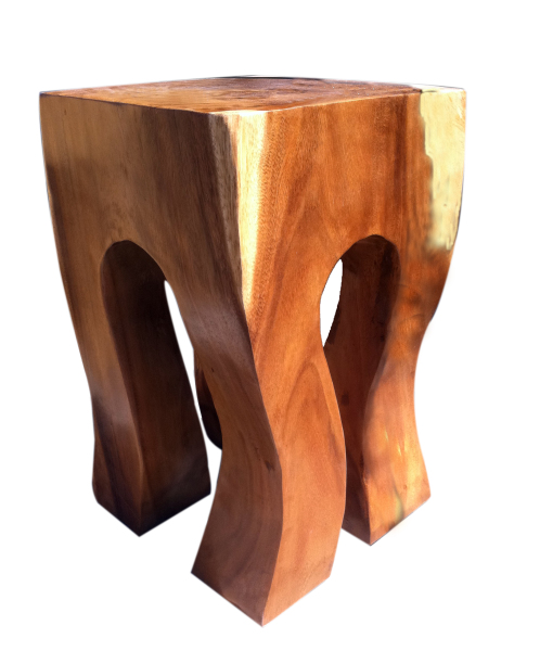 rock out stool natural acacia wood
