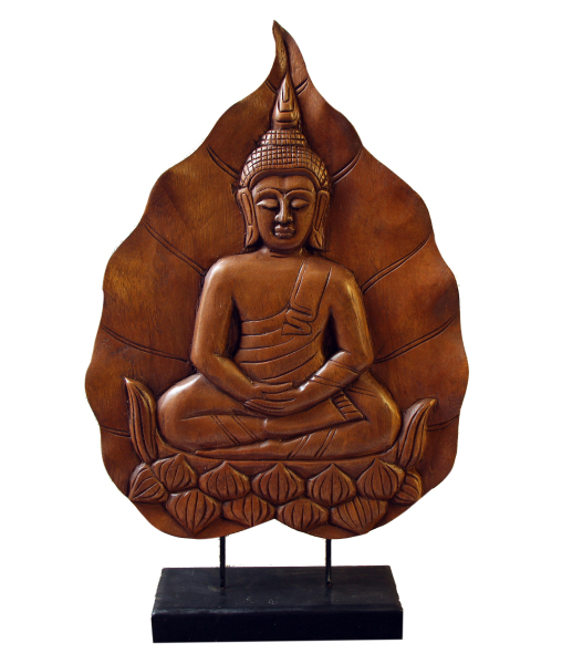 hand carved wood Buddha on a stand