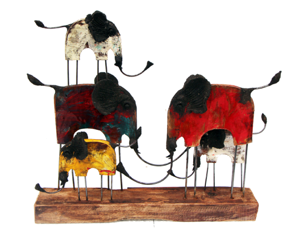 chin hand made elephant family with color