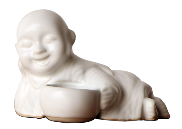 ceramic monk holding an alms bowl tealight or incense holder