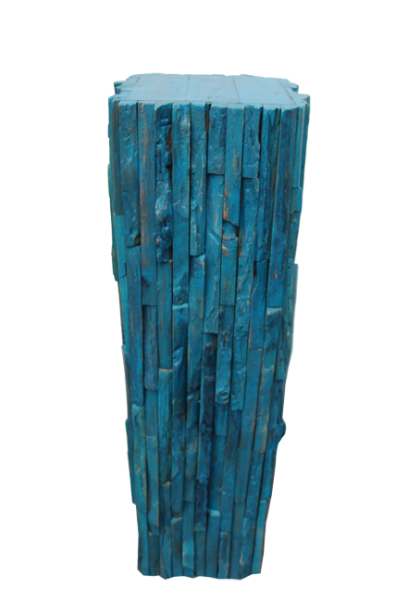 "blue reclaimed teak wood pedestal 26"""