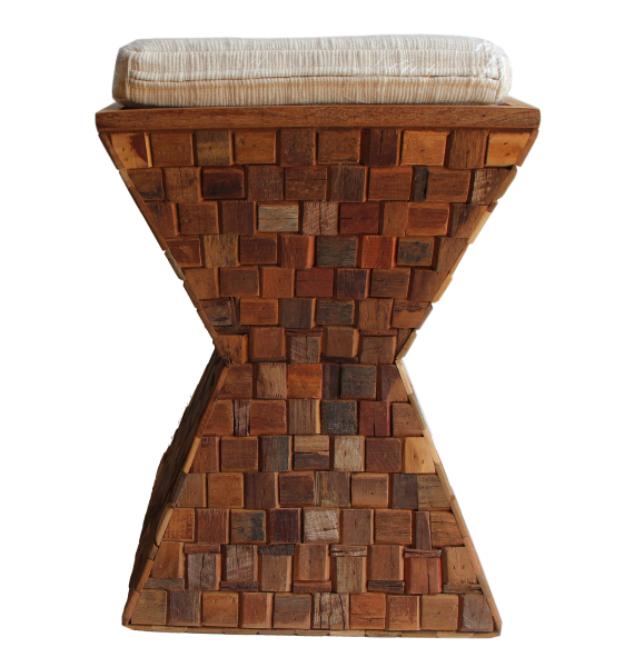 mosaic wood stool made with tropical wood scraps
