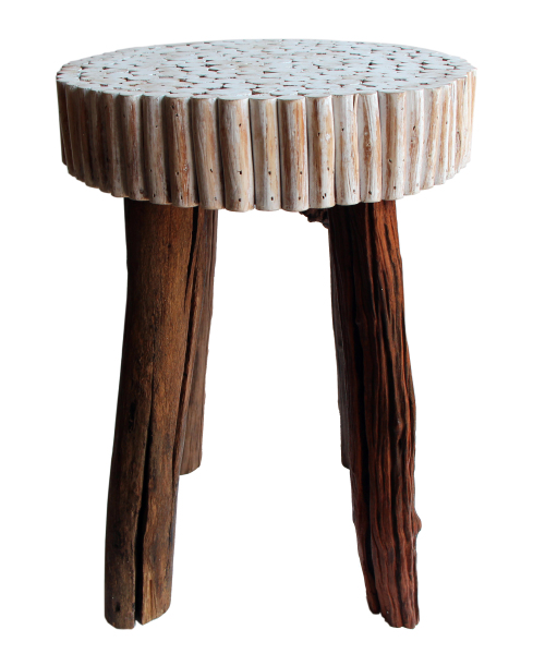 relaimed natural wood modern bubble stool
