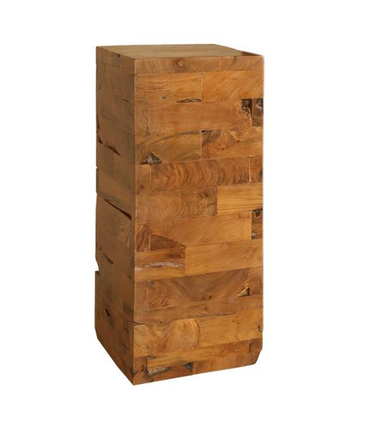 teak wood pedestal made with reclaimed wood