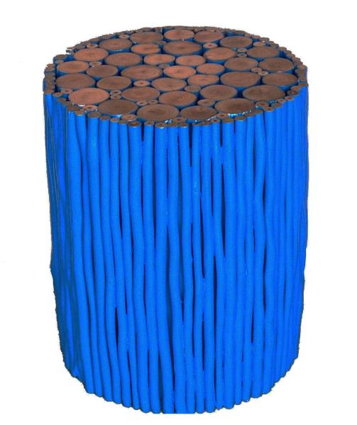 tropical wood blue stick stool