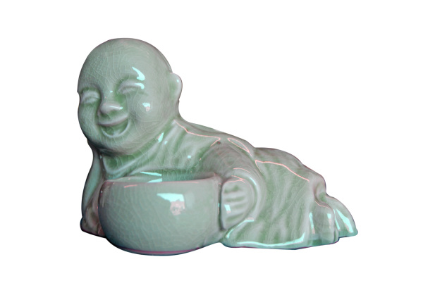 celadon recling monk holding an alms bowl tealight or incense holder