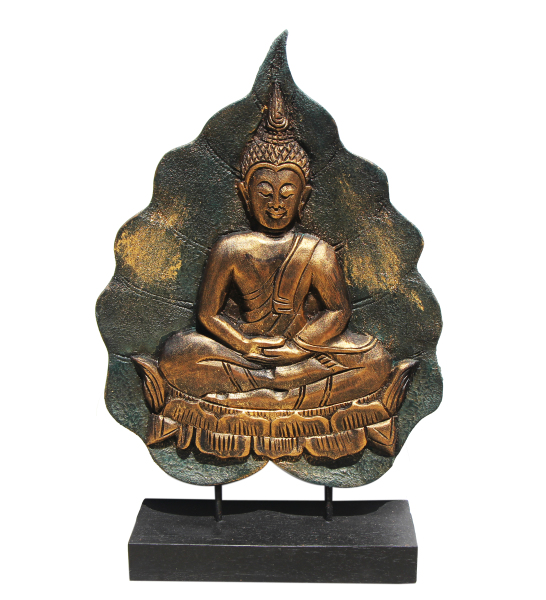 Buddha wood carving in Sukhothai style gold and green