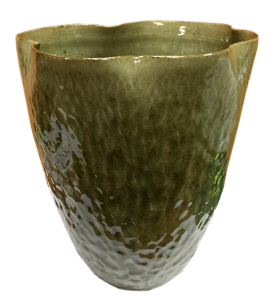 "celadon ""style"" vase hand shaped ceramic"