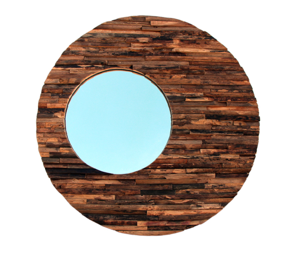 natural wood orbit mirror made with reclaimed wood